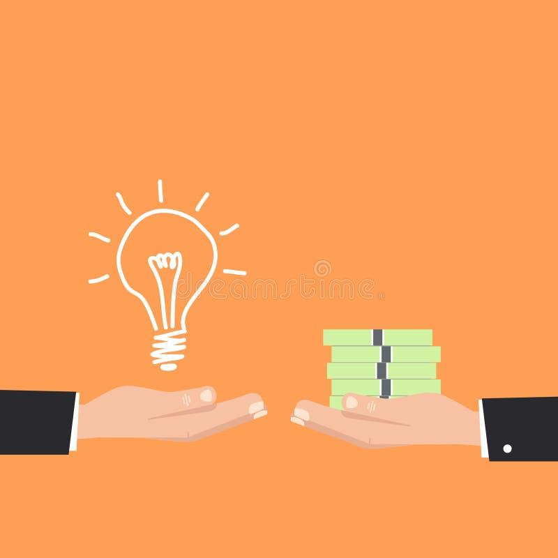 Покупая идеи для денег, выгодская идея оранжевый значок предпосылки бесплатная иллюстрация