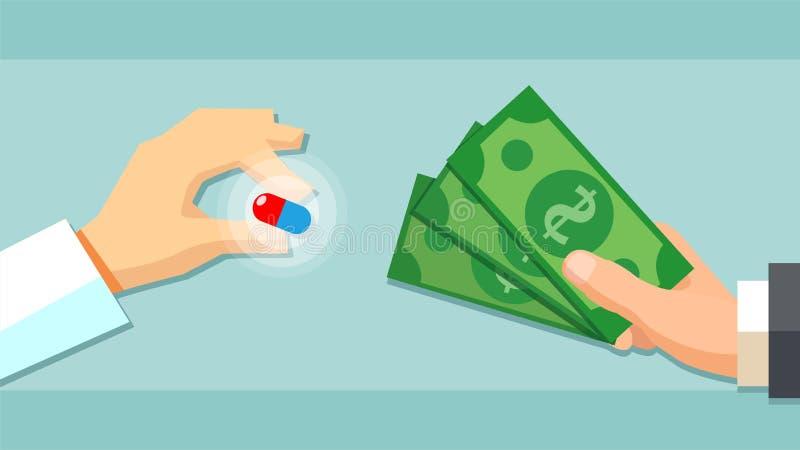 Покупая медицинская концепция лекарств пилюлек Магазин фармации иллюстрация штока