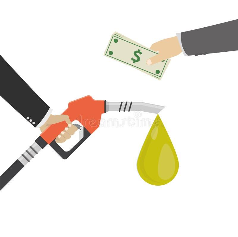 Покупая нефть, концепция Насос для подачи топлива в человеке руки иллюстрация вектора