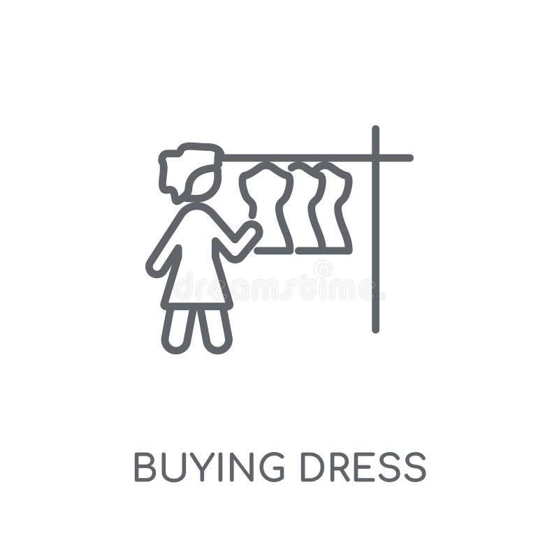Покупая платье линейный значок Conce логотипа платья современного плана покупая бесплатная иллюстрация