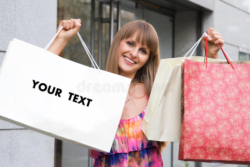 покупка девушки мешка пустая стоковое фото rf