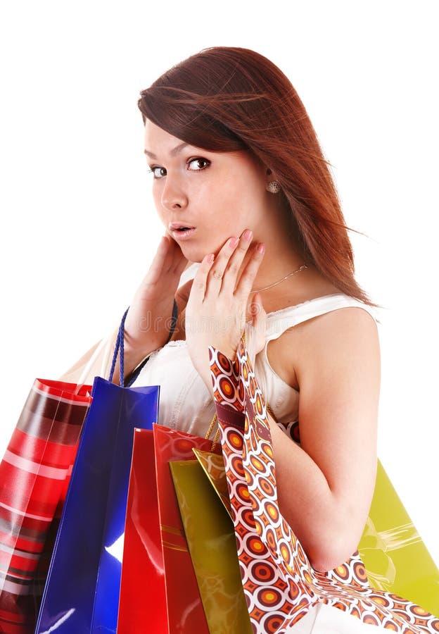 покупка девушки мешка счастливая стоковое фото rf