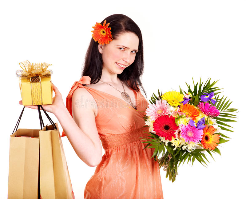покупка девушки подарка цветка коробки мешка стоковая фотография rf