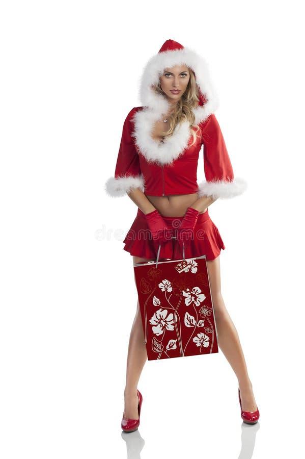 покупка девушки рождества чувственная стоковое изображение