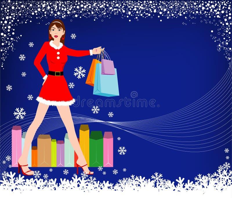 покупка девушки рождества бесплатная иллюстрация