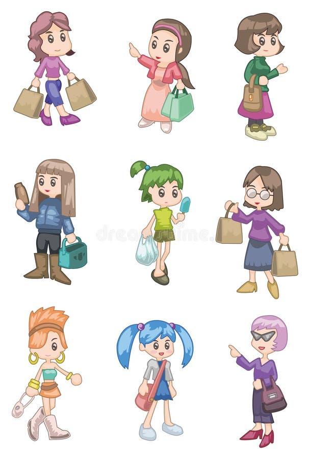 покупка девушки шаржа бесплатная иллюстрация