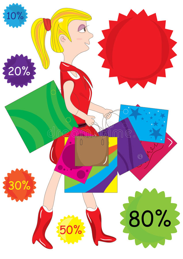 покупка девушки eps иллюстрация штока