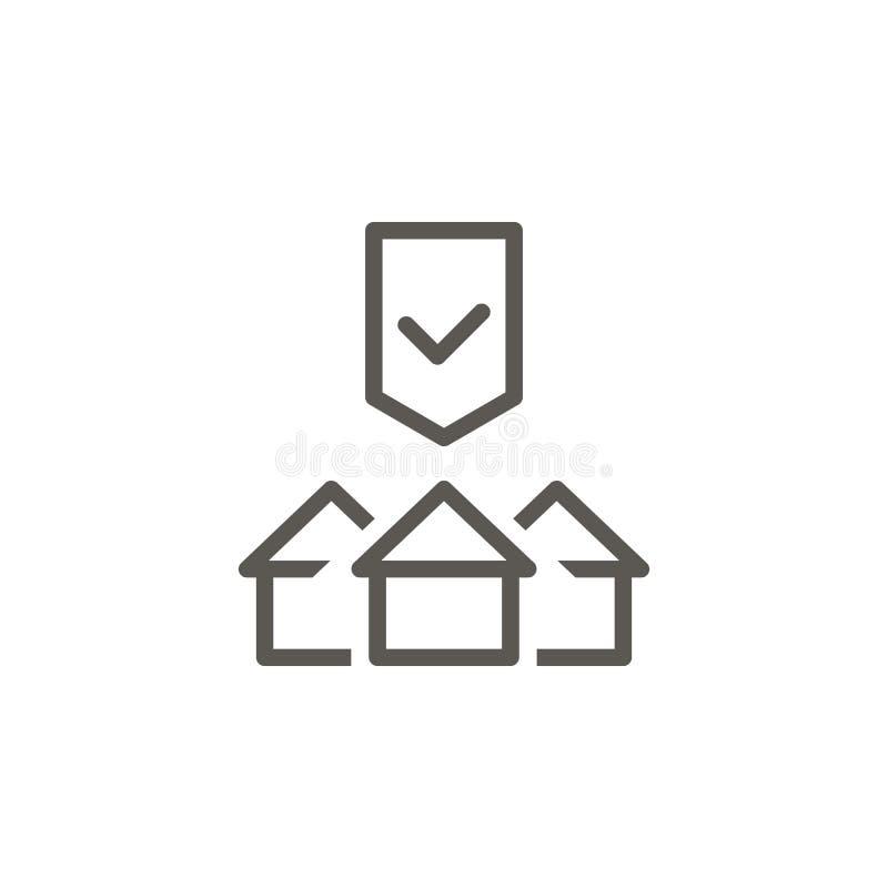 Покупка, дом, свойство, значок вектора защиты r Покупка, дом, свойство, вектор защиты иллюстрация штока