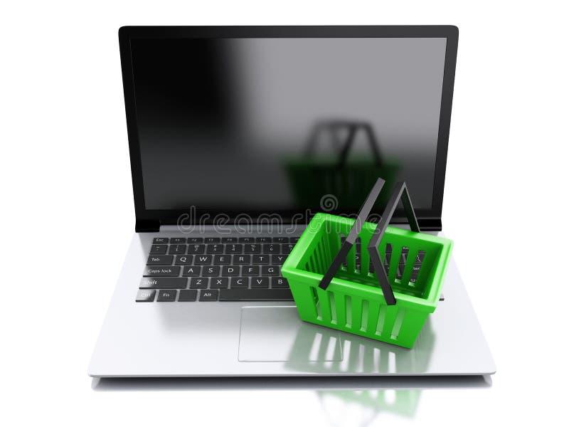 покупка корзины 3d Он-лайн принципиальная схема покупкы иллюстрация штока