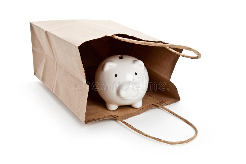 покупка коричневой бумаги банка мешка piggy стоковые изображения rf