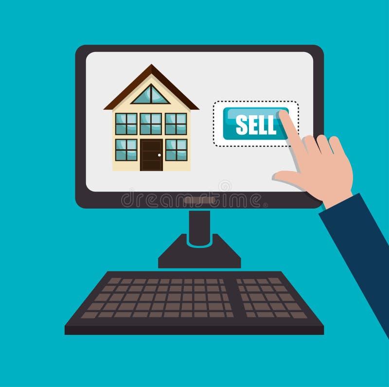 покупка недвижимости онлайн иллюстрация штока