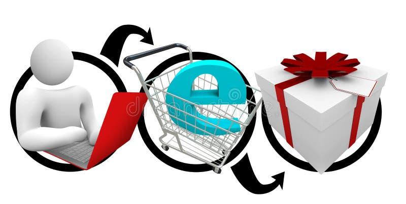 покупка подарка он-лайн иллюстрация вектора