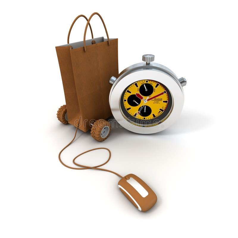 покупка поставки курьерская он-лайн иллюстрация вектора