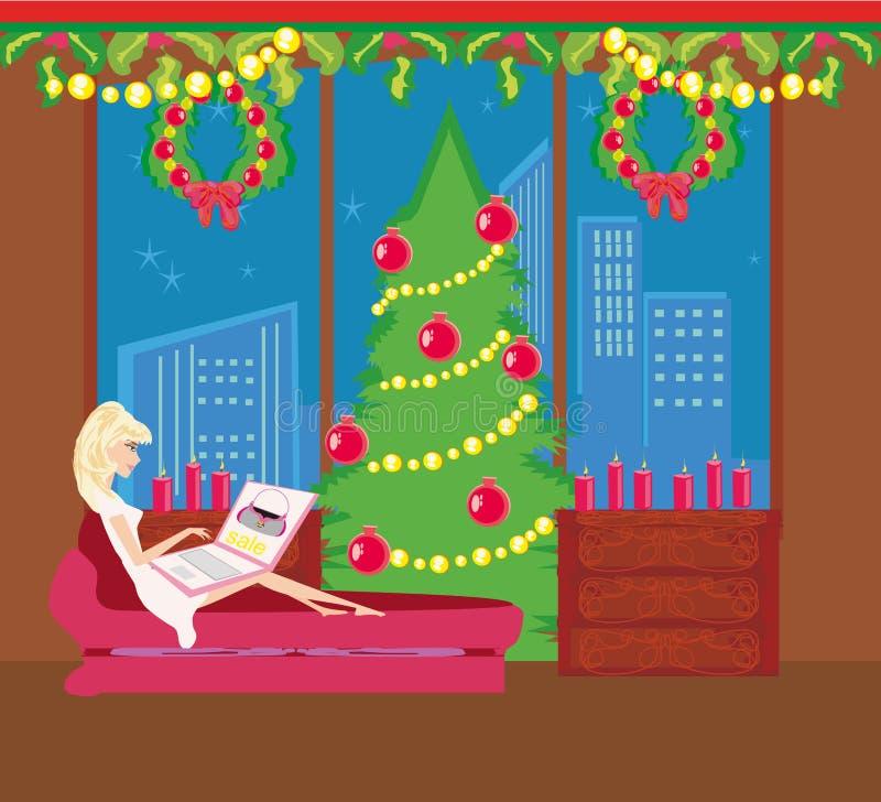 Покупка рождества он-лайн иллюстрация вектора