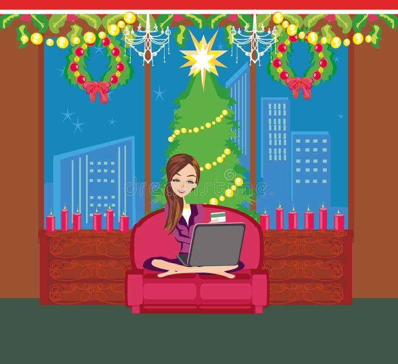 Покупка рождества он-лайн иллюстрация штока
