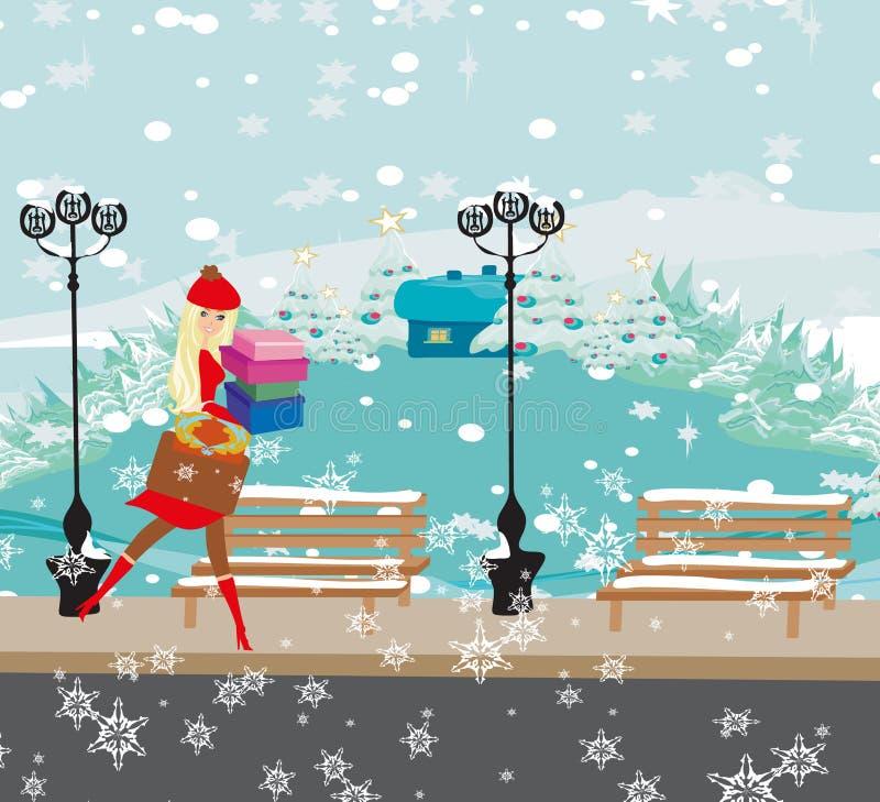 покупка рождества иллюстрация вектора