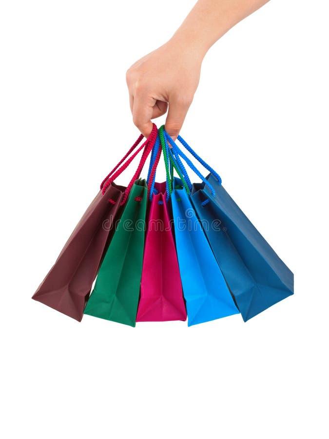 покупка руки мешков стоковое изображение rf