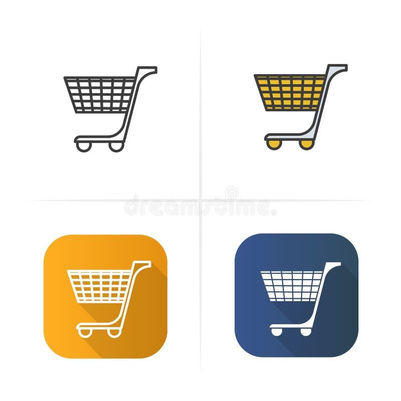 покупка серии иконы тележки красная Плоский дизайн, линейные стили цвета Изолированные иллюстрации вектора бесплатная иллюстрация