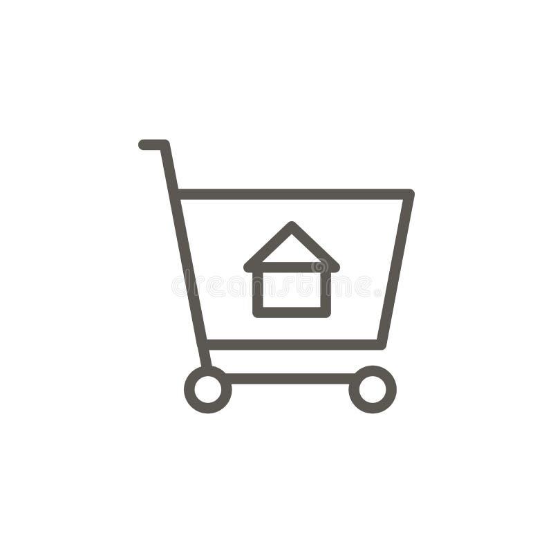 Покупка, тележка, дом, ходя по магазинам значок вектора r Покупка, тележка, дом, ходя по магазинам значок вектора Реальный иллюстрация штока