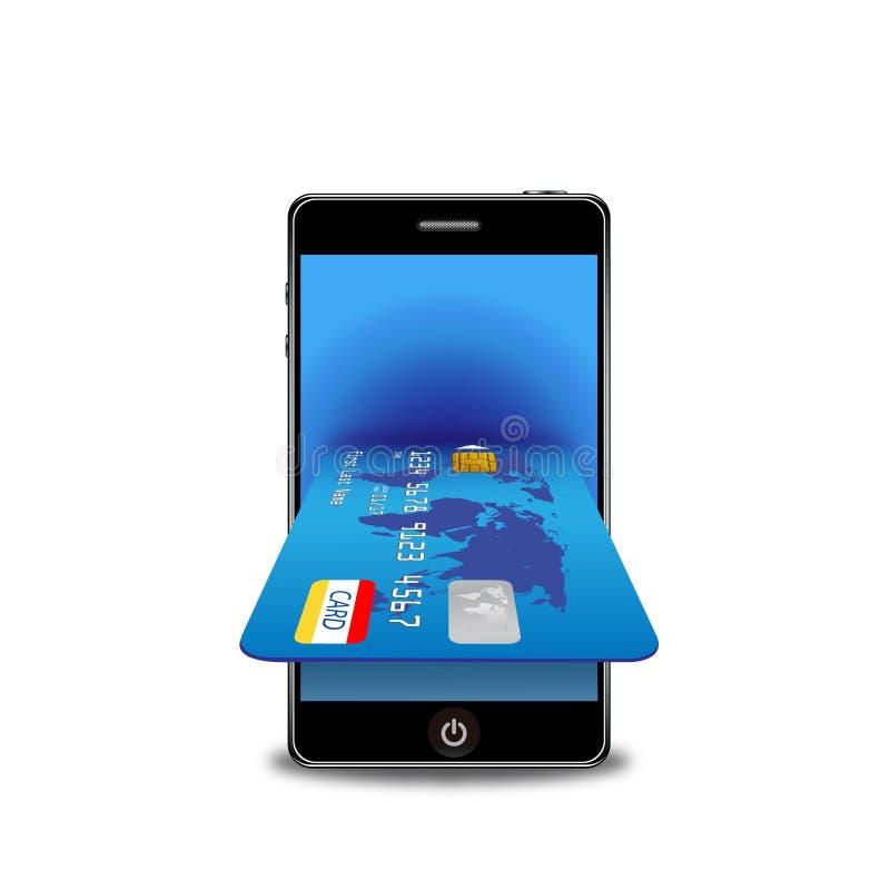 покупка телефона интернета кредита карточки франтовская иллюстрация штока