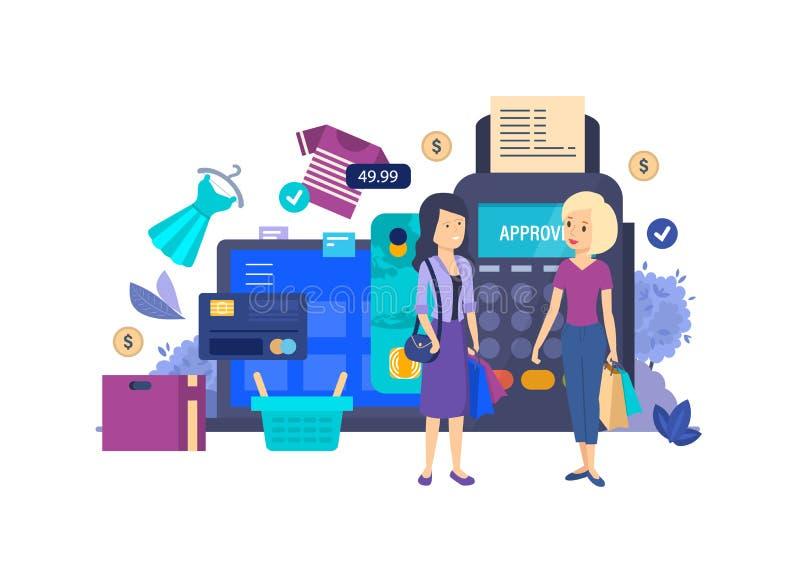 Покупки в магазине, супермаркете, торговом центре магазина, онлайн покупках иллюстрация вектора