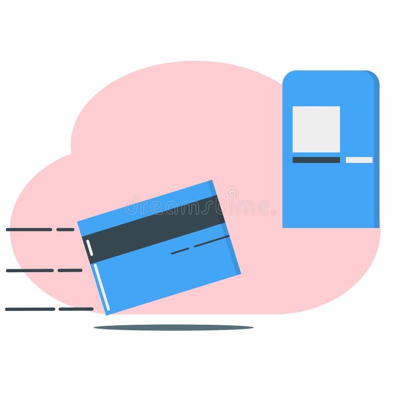 Покупки дебетовой карты онлайн и иллюстрация кренить - вектор бесплатная иллюстрация