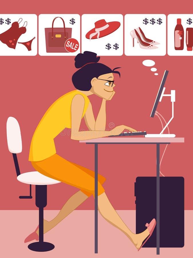 Покупки женщины в онлайн магазине бесплатная иллюстрация