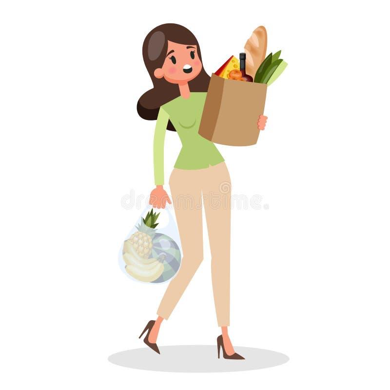 Покупки женщины Гастроном Клиент с хозяйственной сумкой иллюстрация штока
