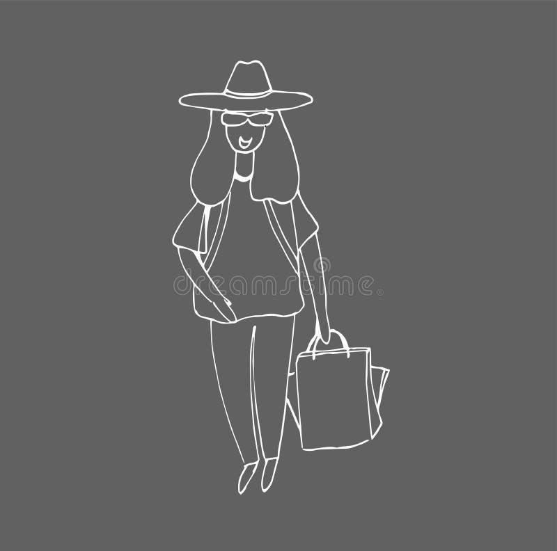 Покупки женщины Девушка и хозяйственная сумка покупателя иллюстрация вектора