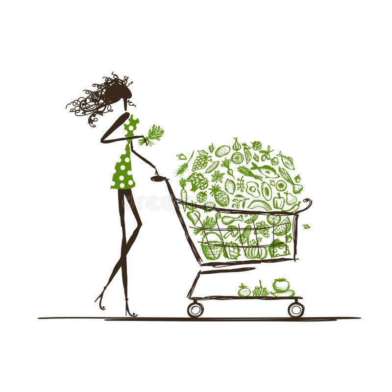 Покупки женщины с вагонеткой еды в супермаркете бесплатная иллюстрация