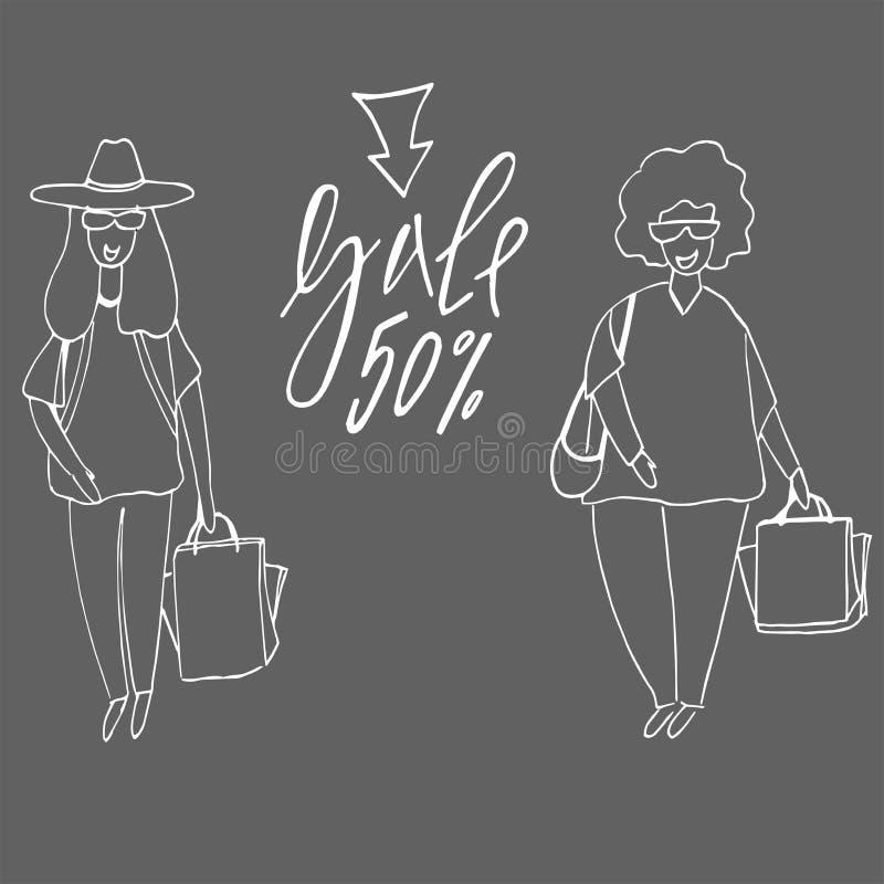 Покупки женщины r Девушка и хозяйственная сумка покупателя иллюстрация вектора