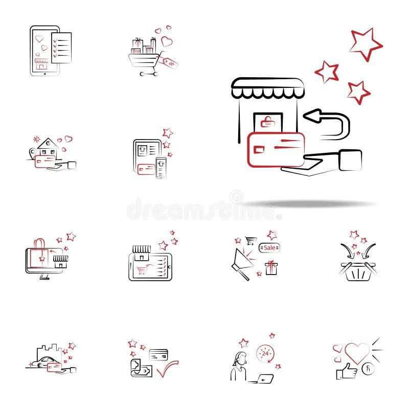 Покупки, значок возвращения Комплект значков покупок всеобщий для сети и черни иллюстрация вектора