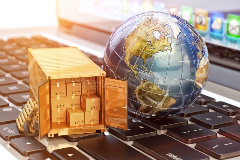 Покупки интернета и электронная коммерция, концепция поставки пакета иллюстрация штока