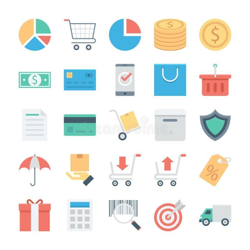 Покупки и значки 1 вектора e покрашенные коммерцией иллюстрация штока