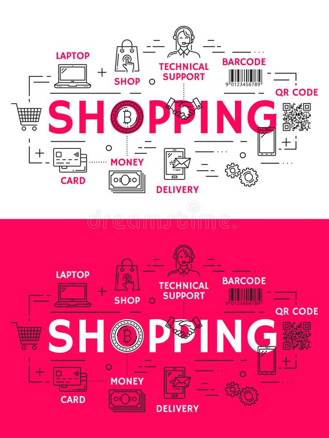 Покупки и розничные значки плана иллюстрация штока