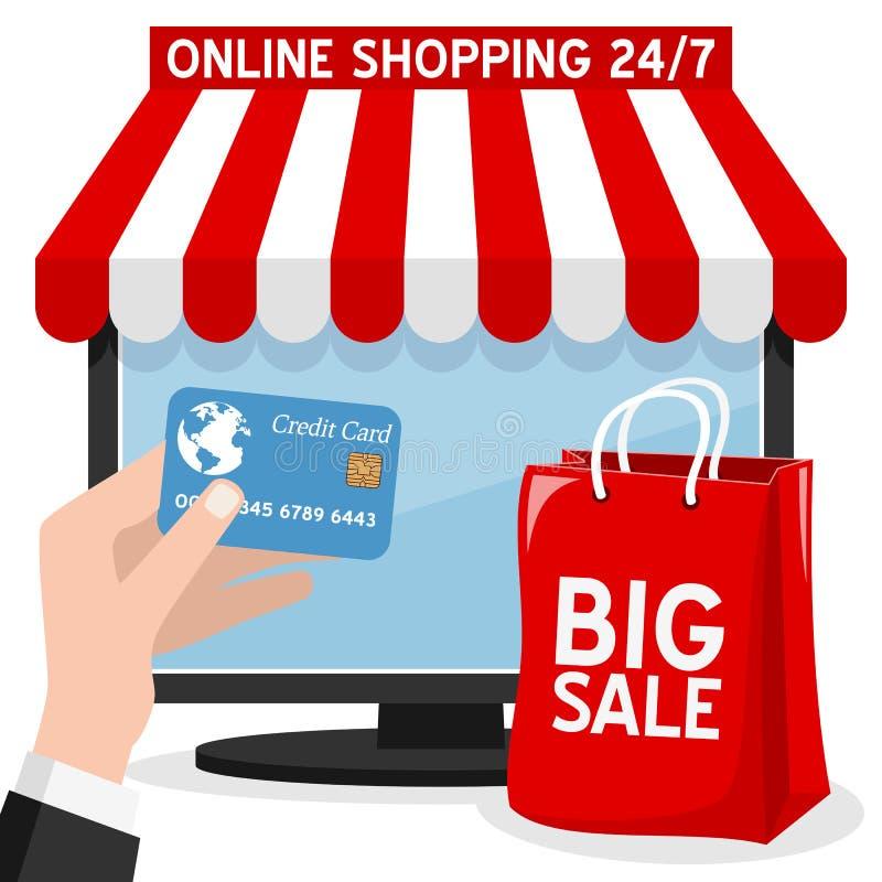 Покупки компьютера онлайн с красной сумкой иллюстрация вектора