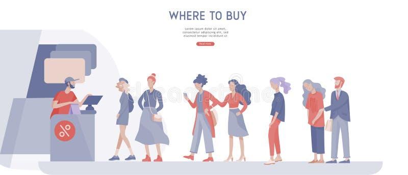 Покупки людей в супермаркете Женщина в супермаркете с кассиром, где купить концепцию клиента и продавца иллюстрация штока