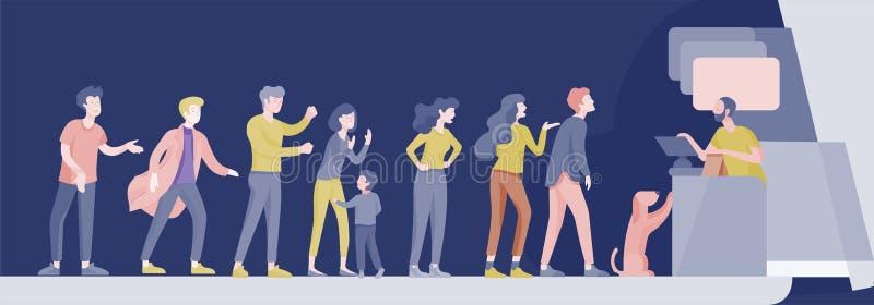Покупки людей в супермаркете Женщина в супермаркете с кассиром, где купить концепцию клиента и продавца иллюстрация вектора