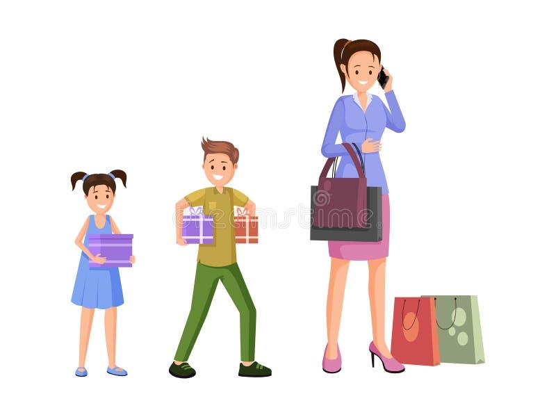Покупки матери с иллюстрацией вектора детей иллюстрация штока