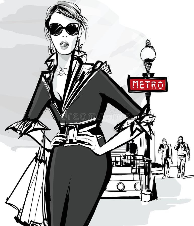 Покупки модели женщины моды в Париже иллюстрация штока