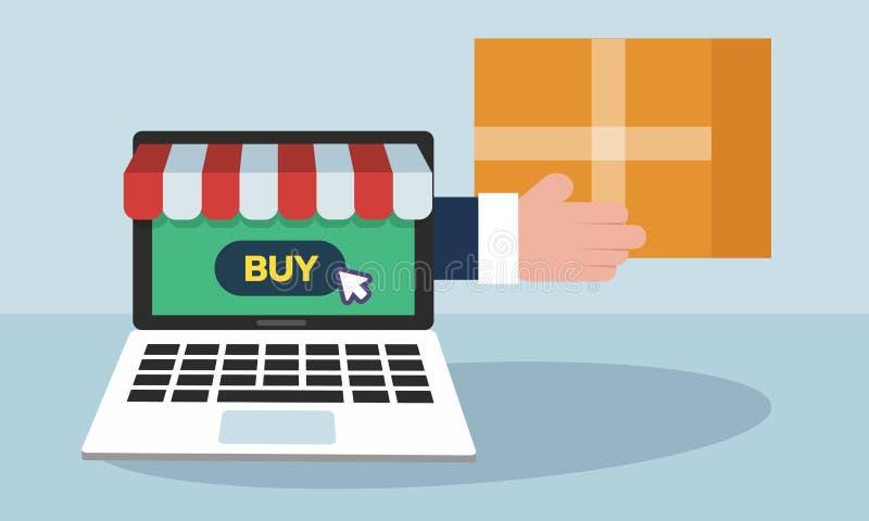 Покупки плоской концепции иллюстрации дизайна онлайн и быстрое обслуживание поставки иллюстрация штока