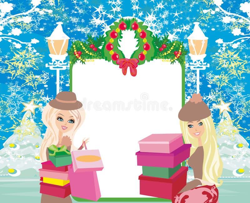 Покупки рождества - карточка продажи зимы иллюстрация вектора