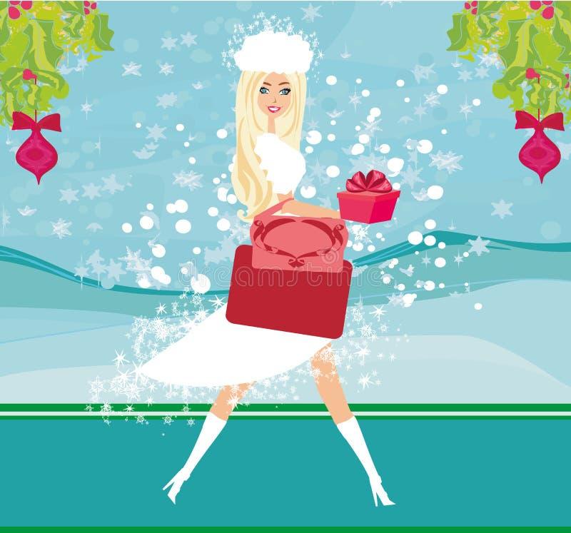 Покупки рождества - карточка продажи зимы иллюстрация штока