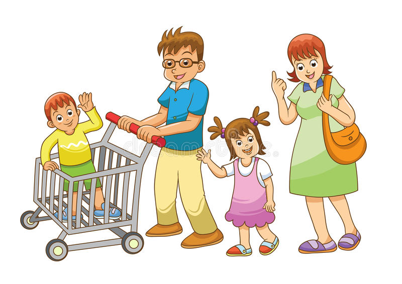 Покупки семьи иллюстрация штока