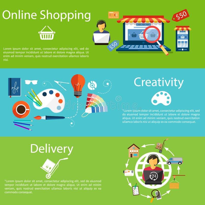Покупки, творческие способности и поставка интернета иллюстрация вектора