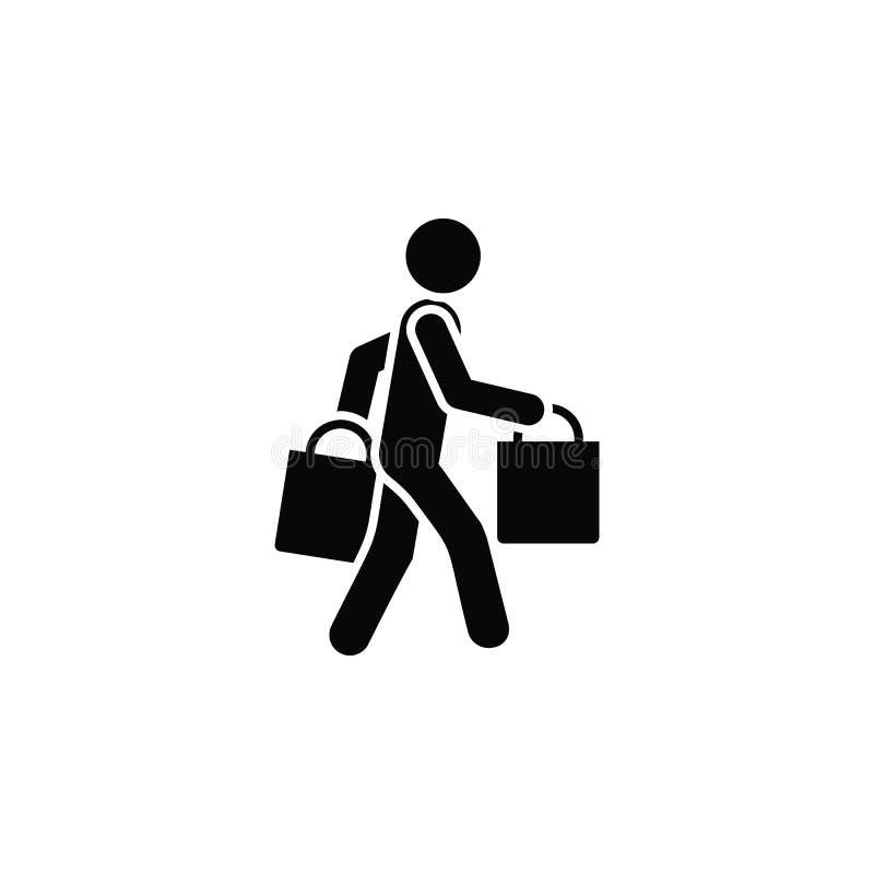 Покупки, человек, значок Элемент простого значка для вебсайтов, веб-дизайна, мобильного приложения, infographics Толстая линия зн иллюстрация вектора