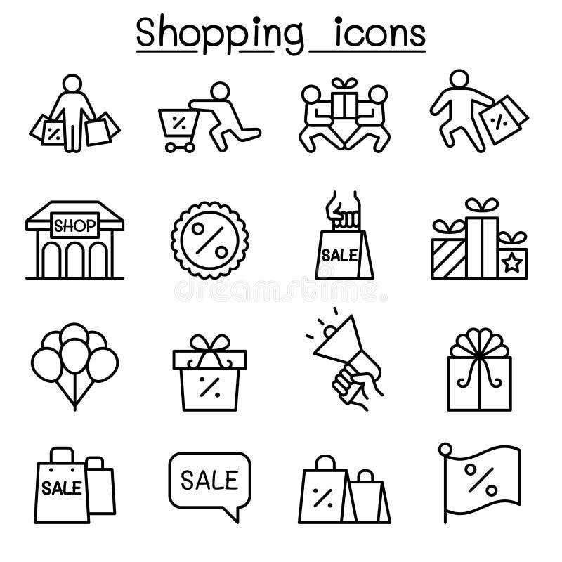 Покупки, черная пятница, набор значка понедельника кибер в тонкой линии стиле бесплатная иллюстрация