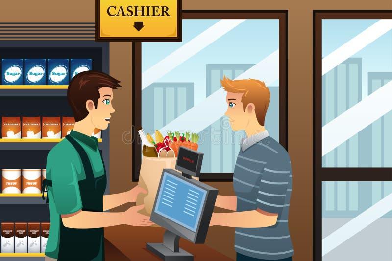 Покупки человека на бакалее иллюстрация штока