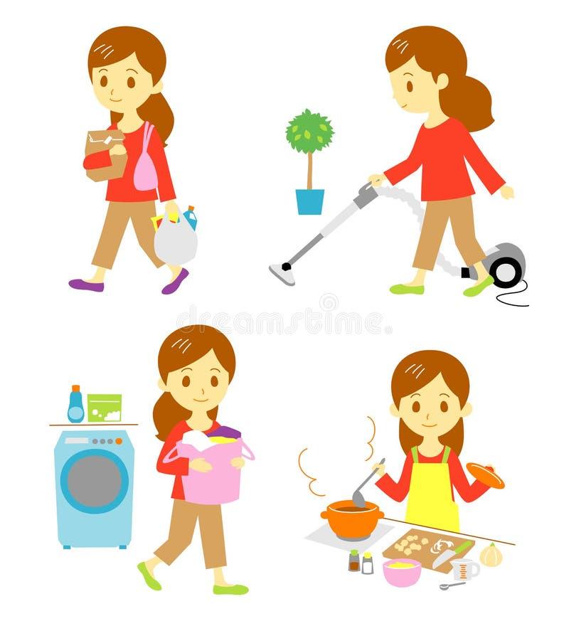 Покупки, чистка, запиток, варя иллюстрация вектора
