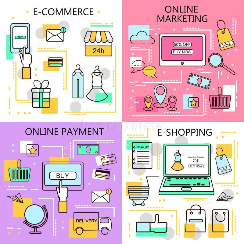 Покупки электронной коммерции онлайн, маркетинг, онлайн знамена оплаты Бизнес Интернет и передвижная концепция маркетинга Для сет иллюстрация вектора